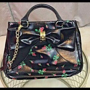 Betsy Johnson Rosebud Big Bow Bag Faux Patent EUC